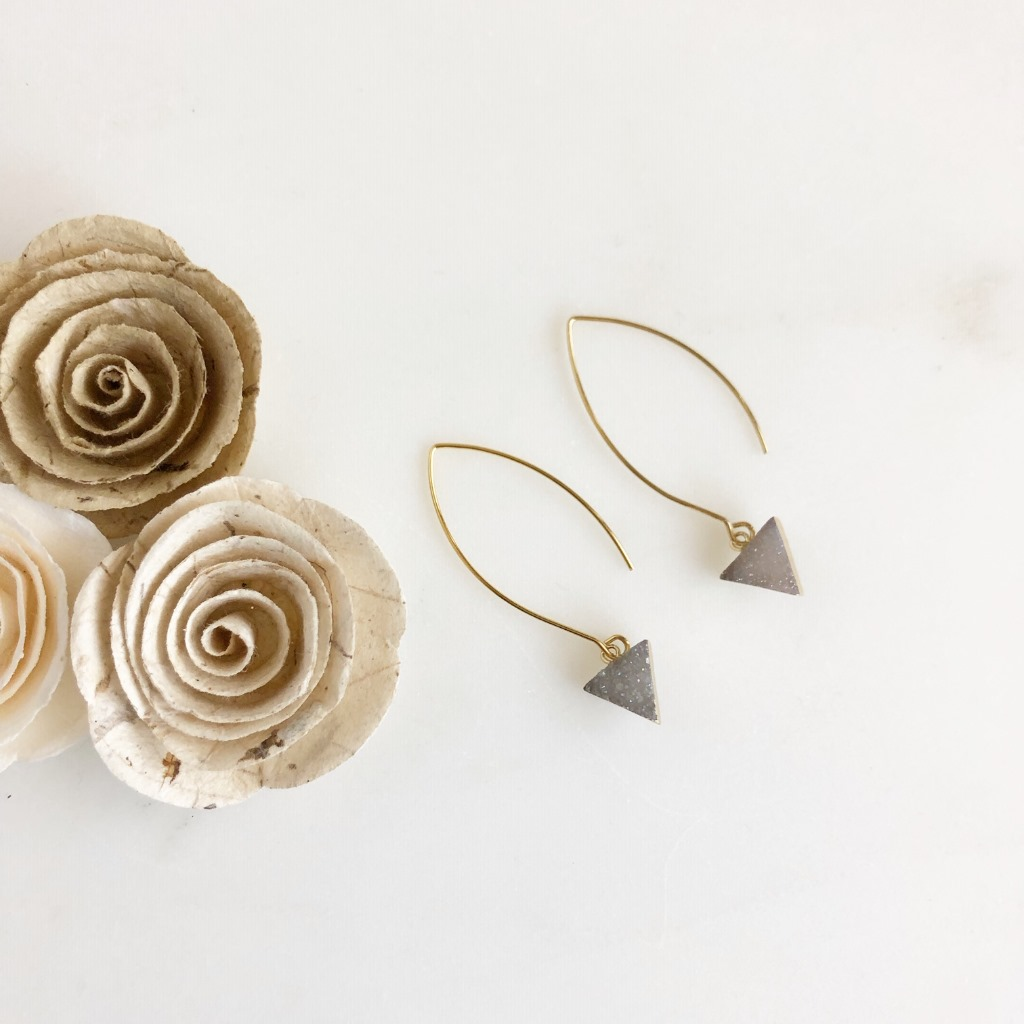 Grey druzy triangle earrings made with beautiful gold marquise ear wire. Perfect everyday AND formal!