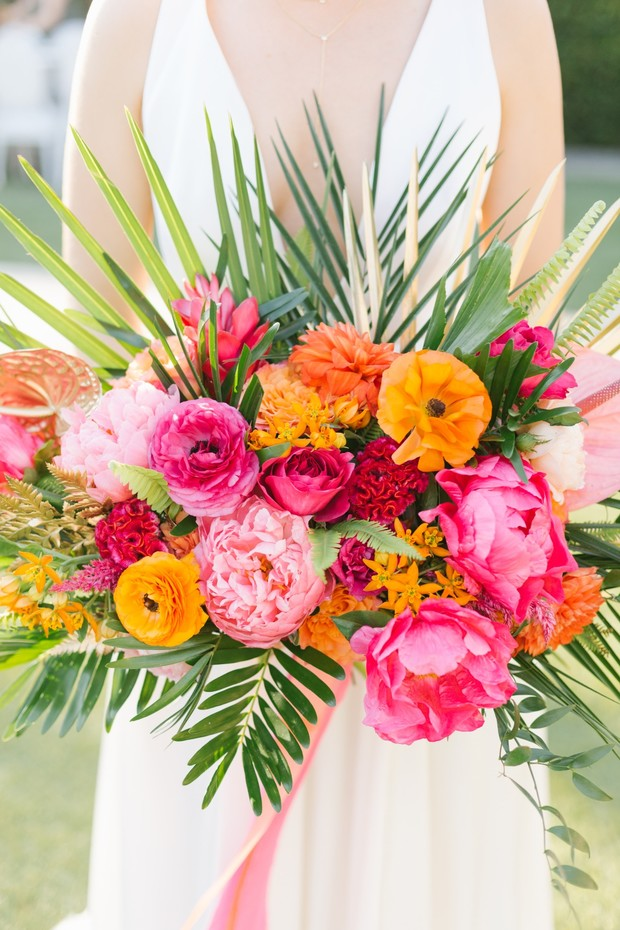 vibrant and tropical wedding bouquet