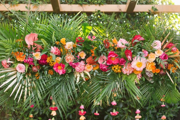 tropical ceremony florals