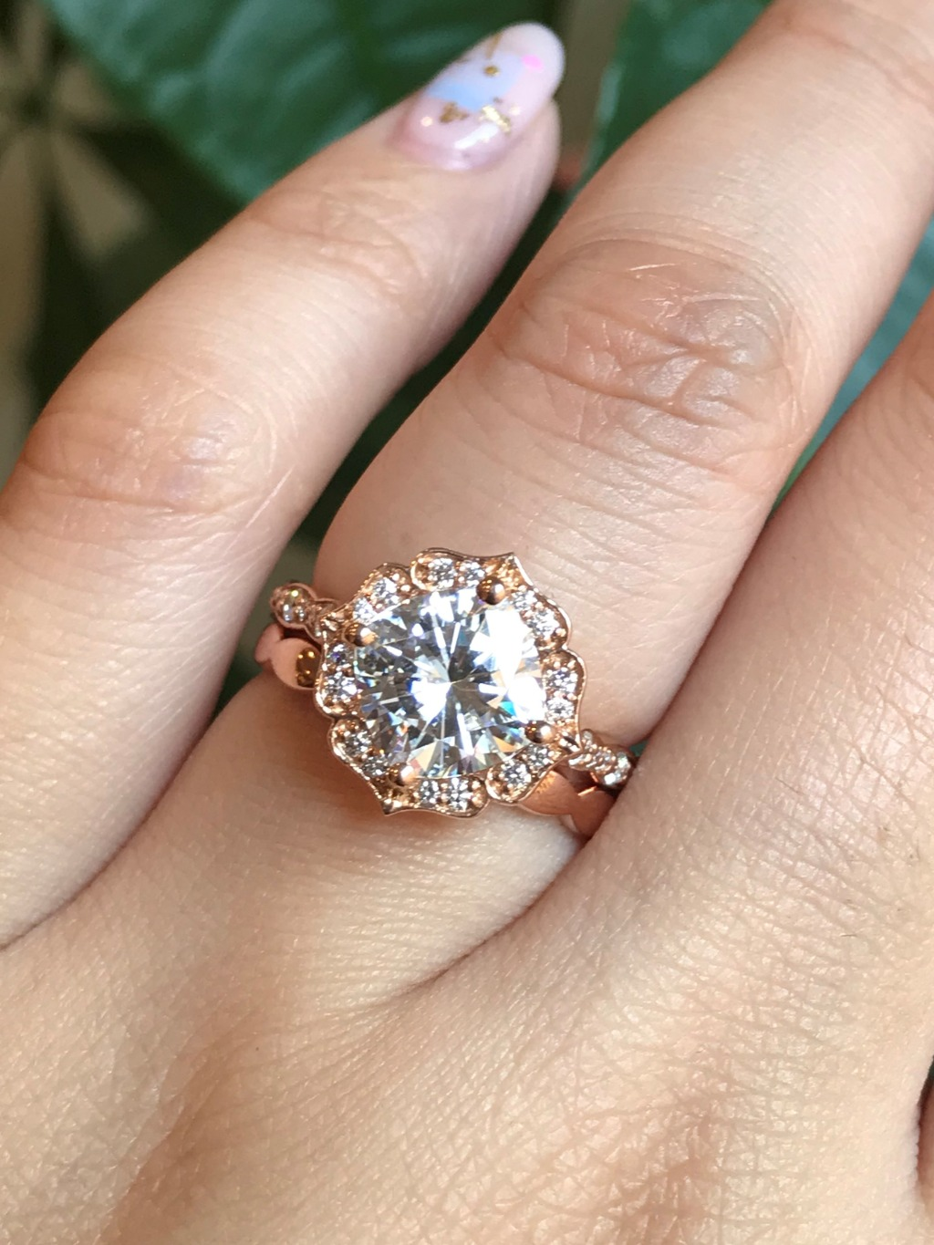 We love our Vintage Floral collection, one of our signature designs ~ This beautiful set features a Cushion Cut Moissanite in Vintage