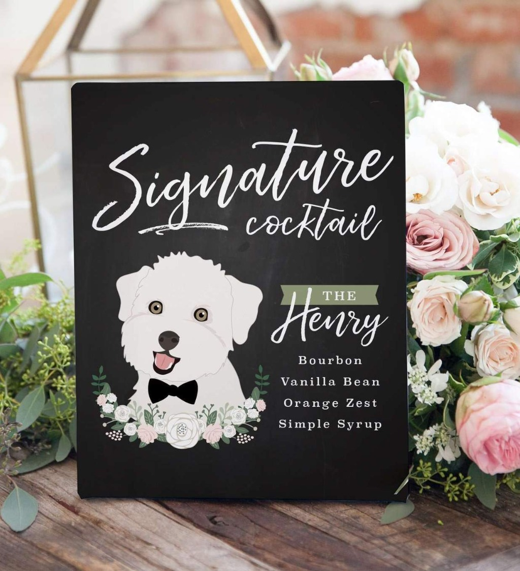 This awesome Chalkboard Signature Cocktail Sign For Wedding with Pet Portrait from Miss Design Berry features your beautiful fur baby