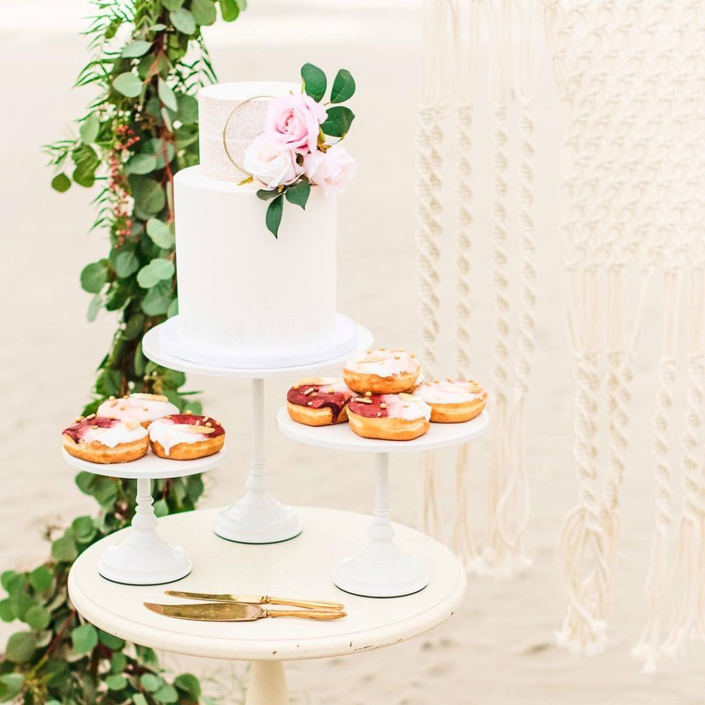 Wedding Cake and Donuts by @somethingfrostedslc on @opulentreasures Simply White Cake Stands // Photo by @danijoyphoto