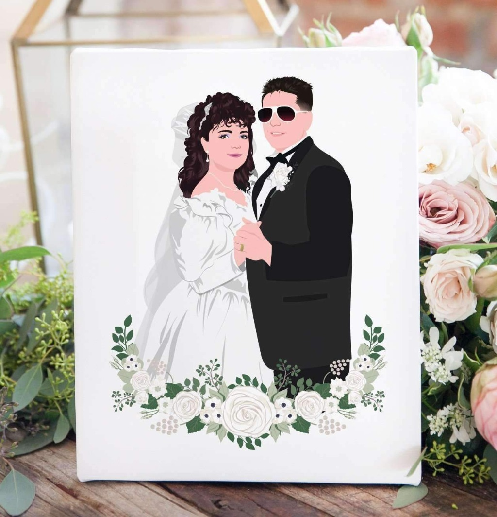 If you're looking for the perfect gift for your parents or grandparents, this Wedding Photo Recreation Illustration is amazing!! Send