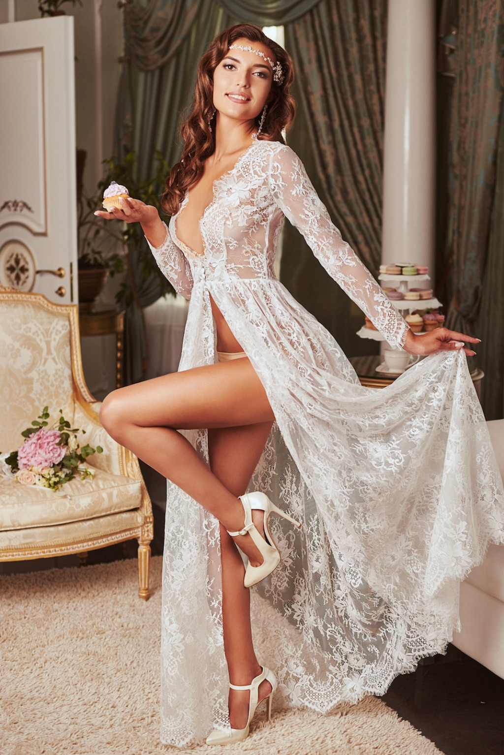 Beautiful selection of lace robes.