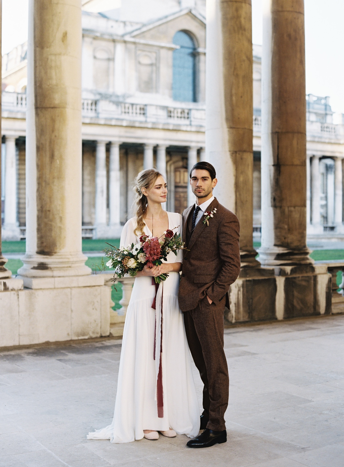 Stylish modern wedding look