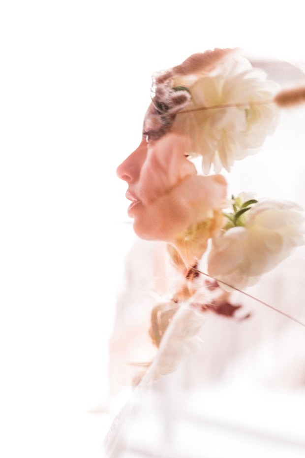 floral and bridal double exposure image