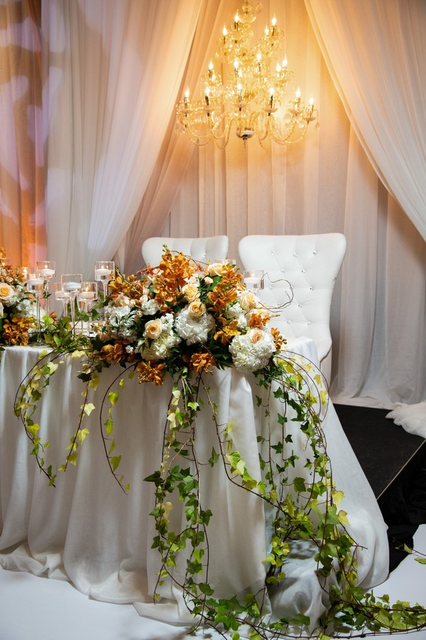 floral arrangements for sweetheart table