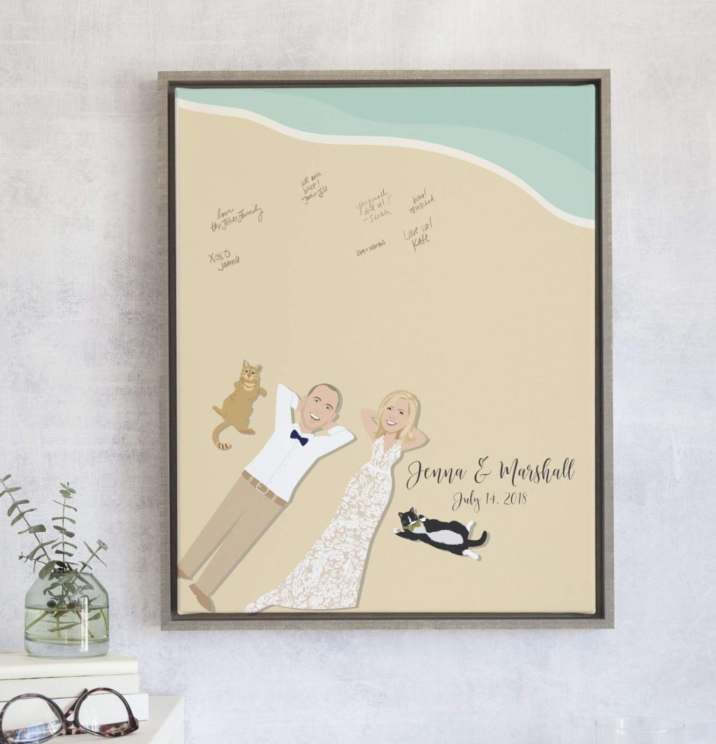 This Beach Wedding Guest Book Alternative from Miss Design Berry is the PERFECT guest book if you're a beach loving couple who are