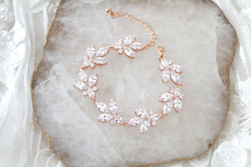 Leaf style Rose gold Bridal bracelet created with sparkly cubic zirconia stones. A perfect accessory for the bride, bridesmaid or any