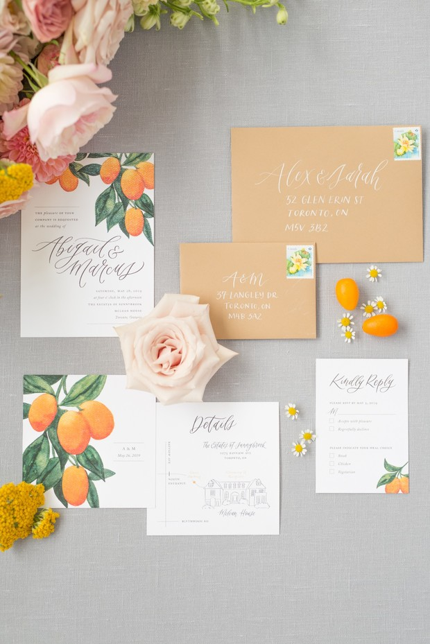 kumquat inspired wedding invitation suite