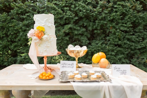 spring inspired wedding dessert table