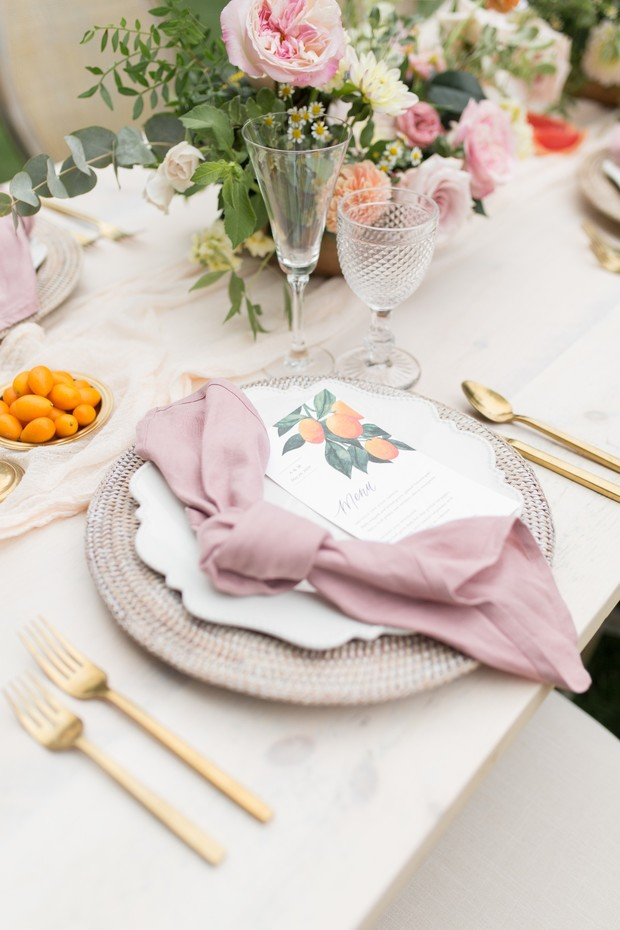 kumquat inspired wedding place setting