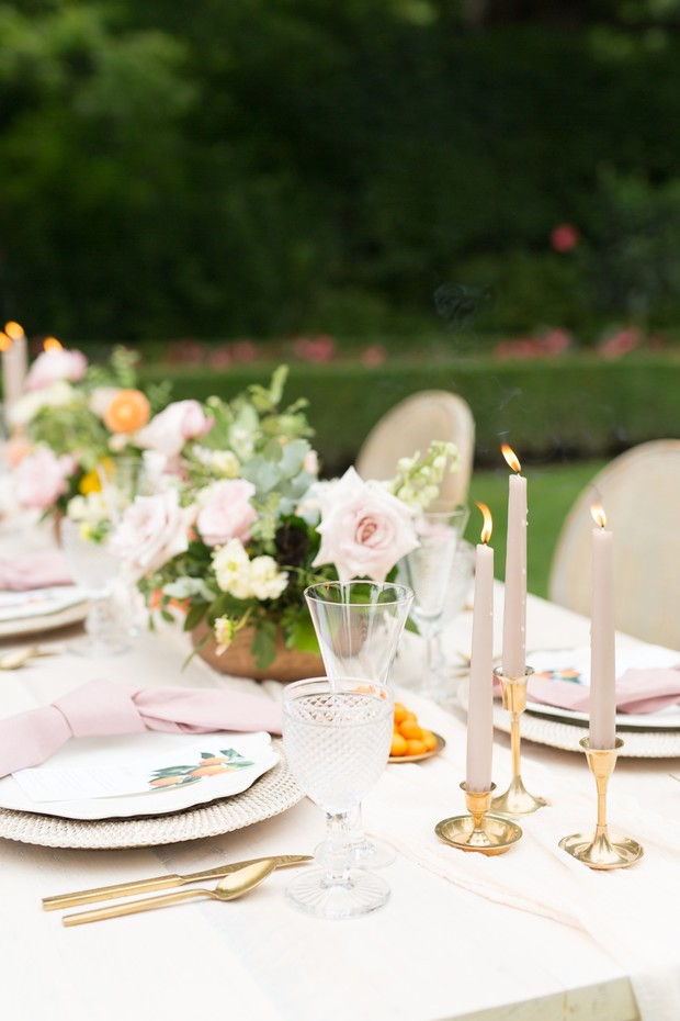 soft pink gold and orange wedding table