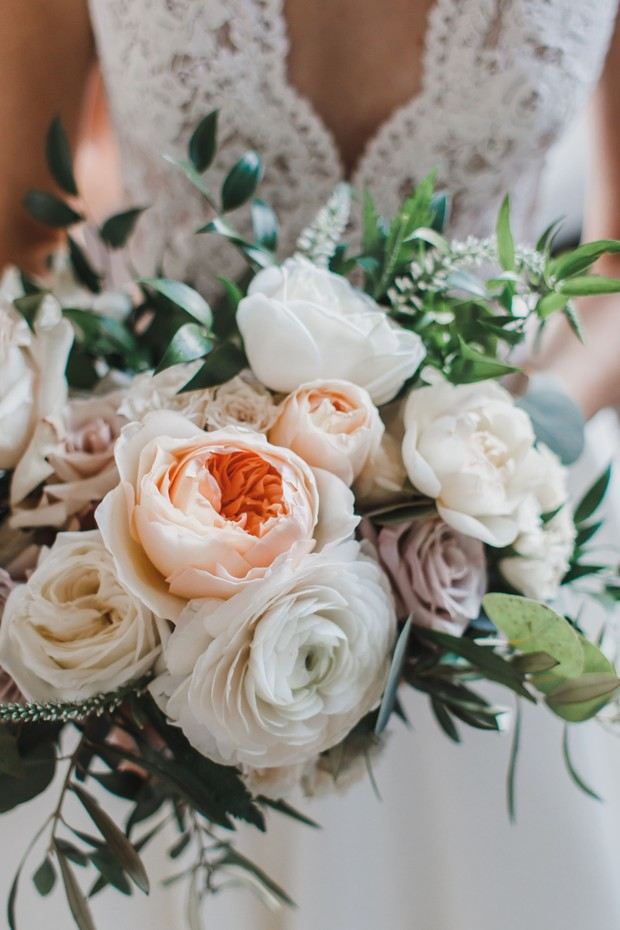 white and blush wedding flowers