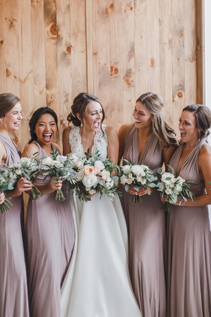 bridal party in dusty pink
