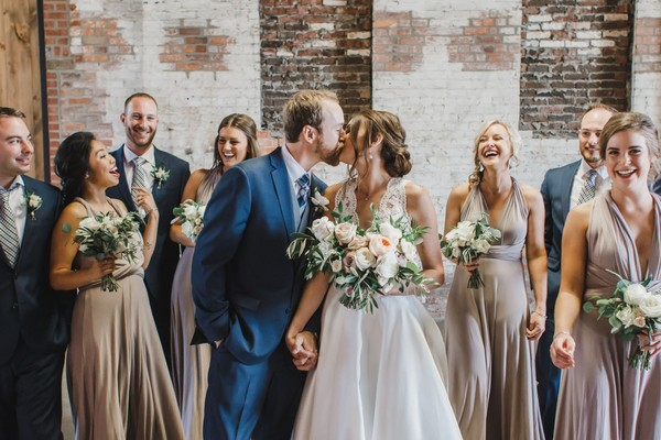A Pink And White Boho Industrial Wedding