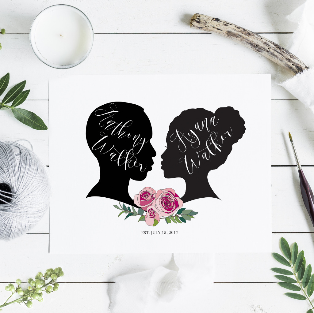 Made with your own silhouettes! Beautiful artwork for your wedding and home.