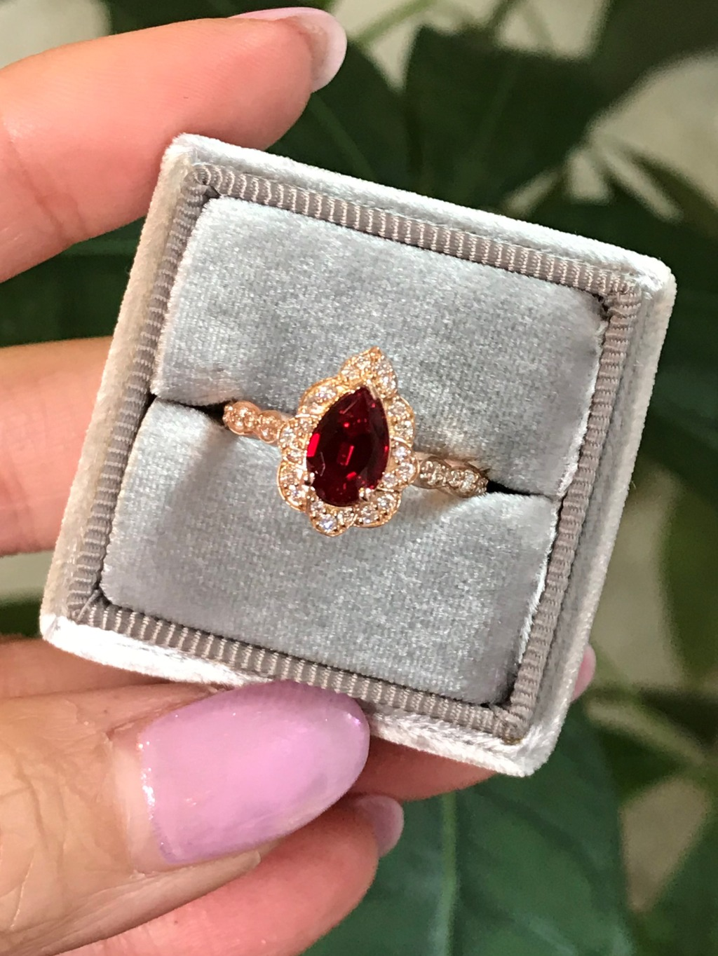 This ruby red pear cut beauty will be listed on our website soon! Visit our Pear Cut collection to view our existing designs, like