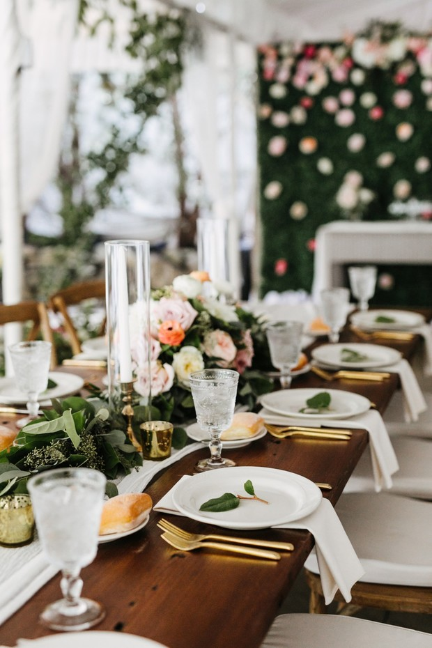 tent wedding reception table