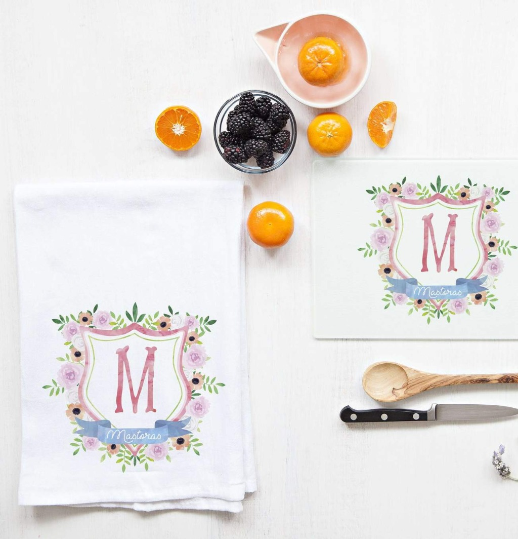 This beautiful Monogram Crest Tea Towel and Cutting Board Set is the perfect bridesmaid gift for your tribe!!