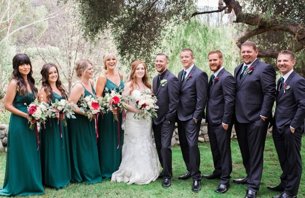 wedding party in emerald green