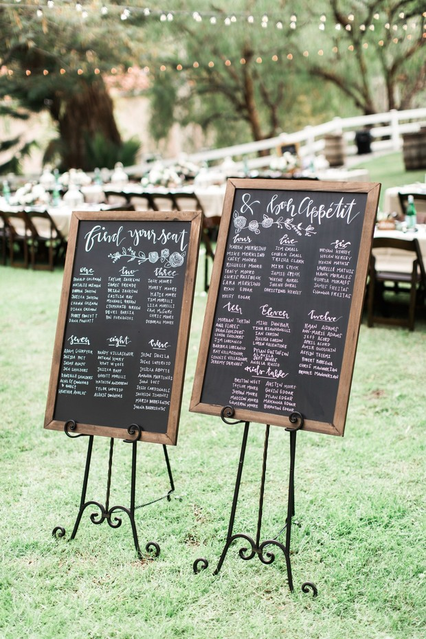 chalkboard wedding seating assignment