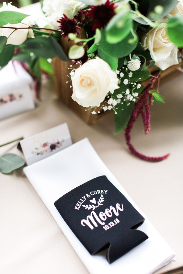 wedding place setting with custom koozie