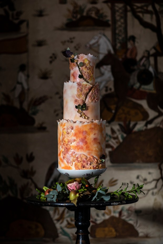 Modern water color wedding cake
