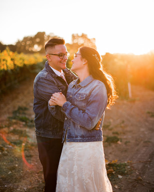 newlyweds at sunset