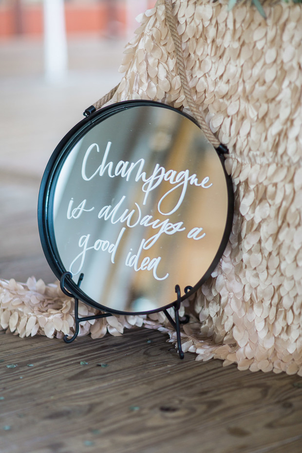 champagne wedding sign