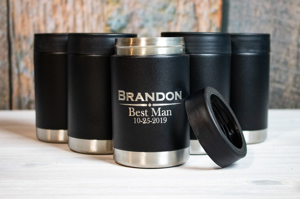 Custom Engraved Stainless Steel can koozies from With the Grain Wedding, perfect for your wedding party and UNDER $20!