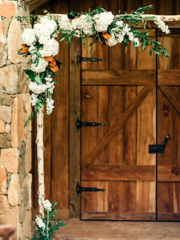 modern floral wedding arch idea