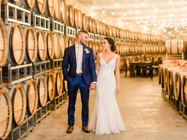 winery barrel room portrait