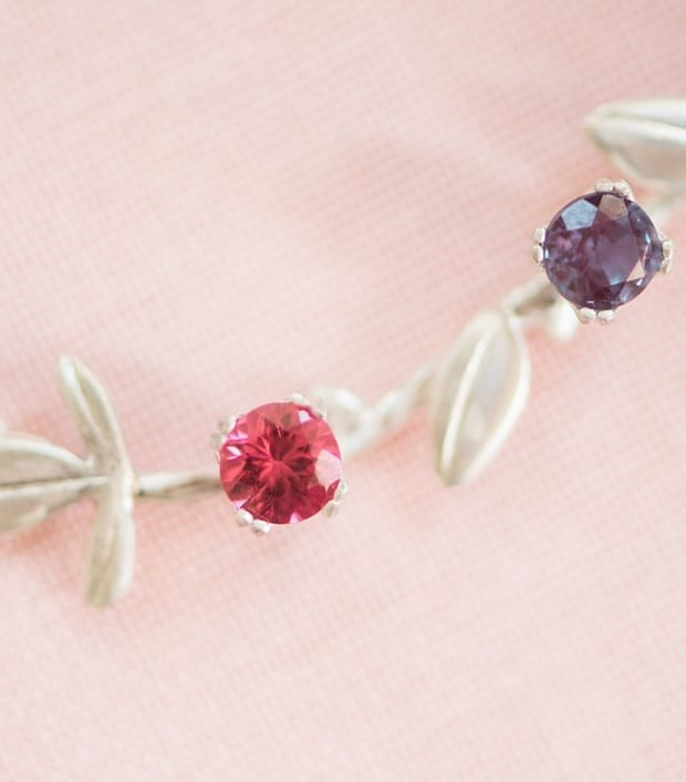 Pink spinel & Alexandrite on a custom sterling silver vine necklace! Use birthstones to honor the important moments in your relationship