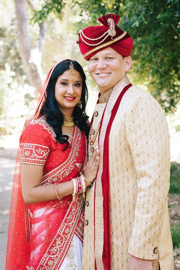 wedding couple in traditional Indian garb