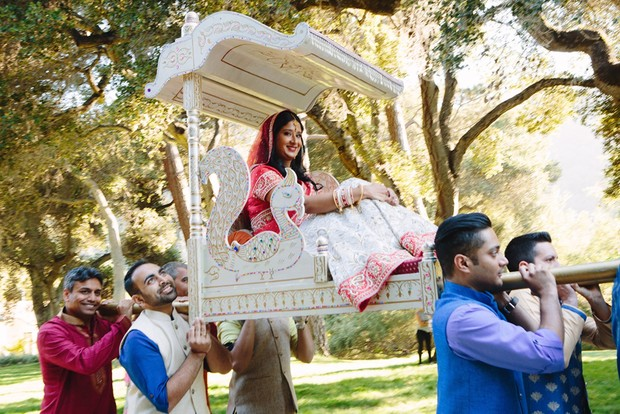 bride on traditional Indian palanquin