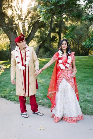 wedding couple in traditional Indian wedding attire