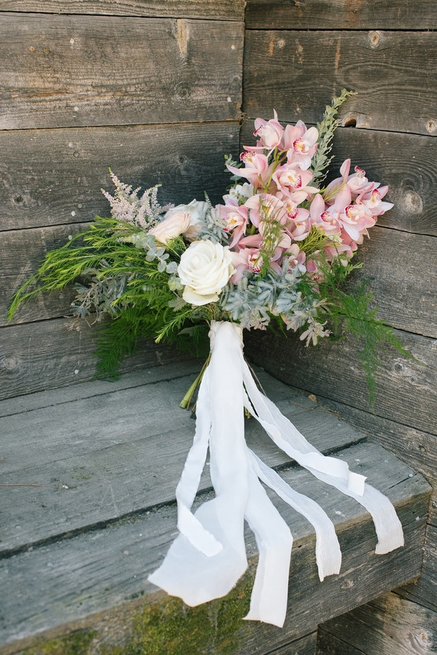 romantic pink and white wedding bouquet