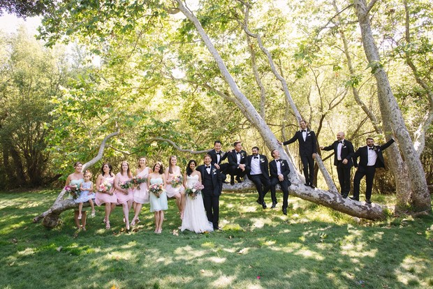 wedding party in pink and tuxedos