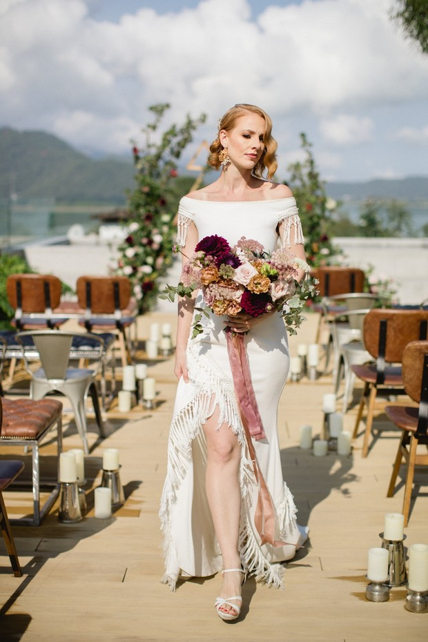 Modern bohemian wedding dress