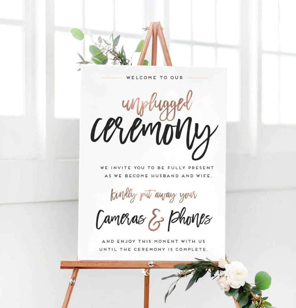 This beautiful Wedding Unplugged Ceremony Sign will be perfect if you'd like your guests to stay in the moment with you on your big