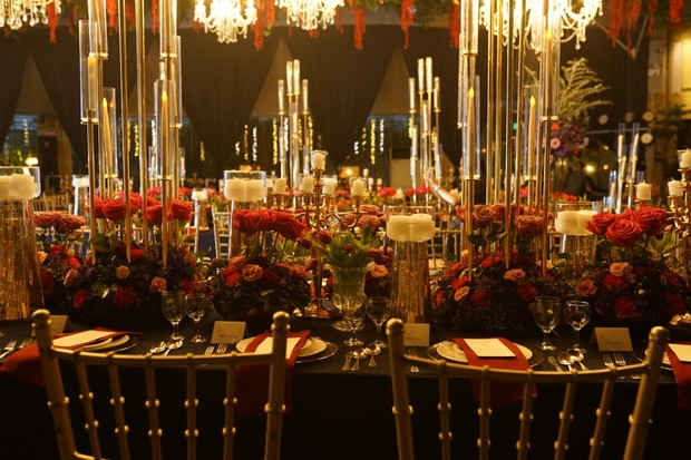 dramatic gold and red wedding reception
