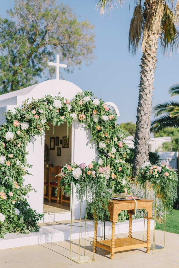 floral draped wedding chapel