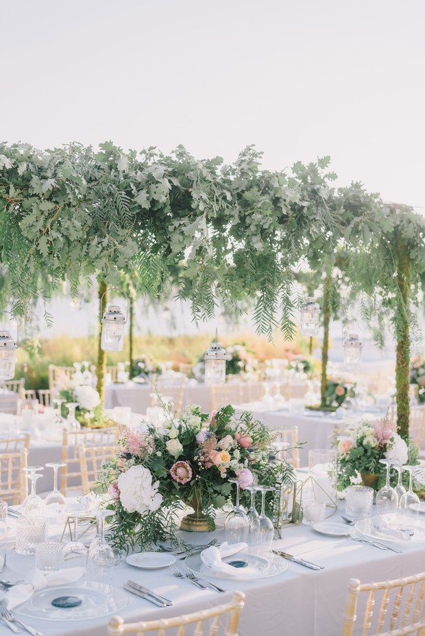 wedding table with table floral halo