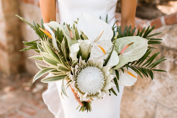 white tropical wedding bouquet