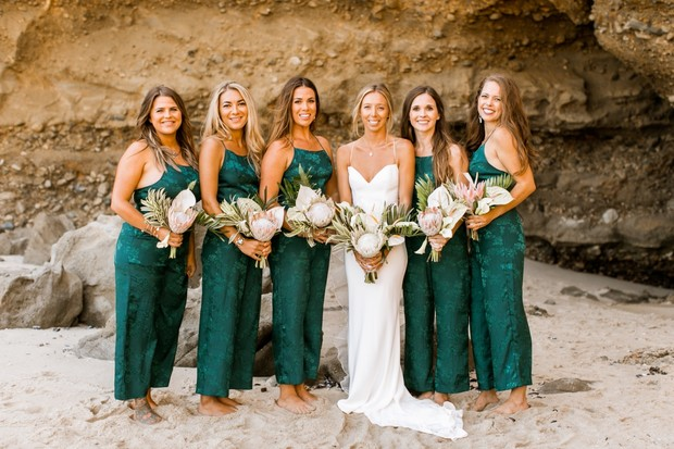 emerald green bridesmaids in jumpers
