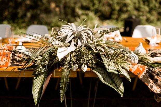 tropical themed wedding floral decor