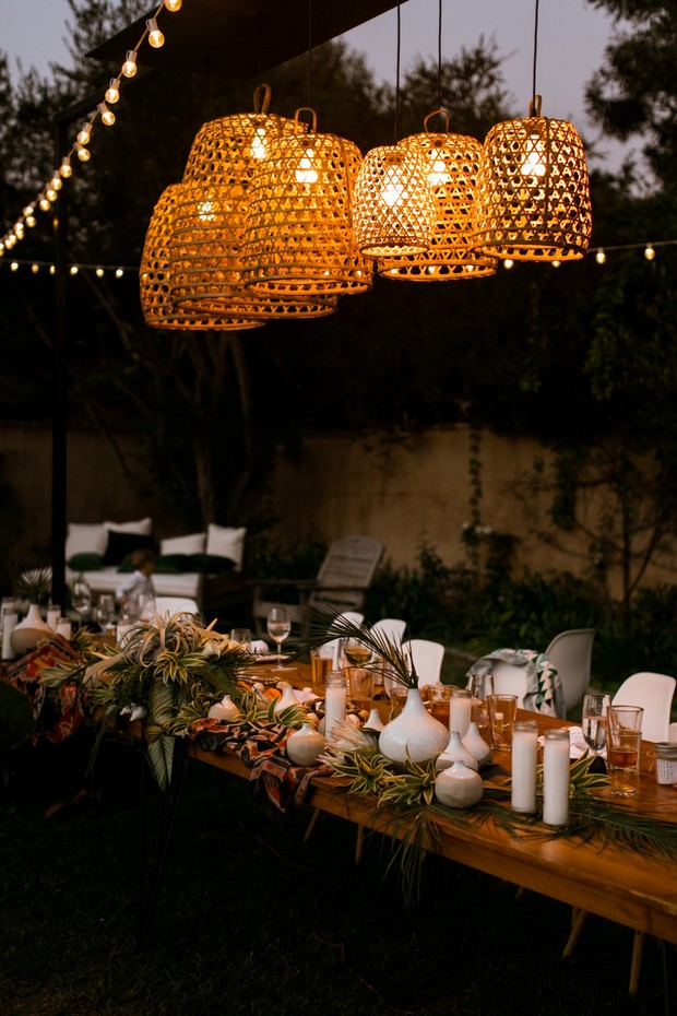 mid century boho wedding party table