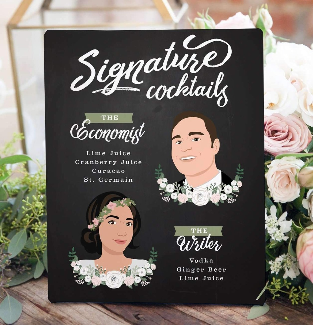 This Chalkboard Signature Cocktail Sign with Bride and Groom Portraits is perfect for your Mr. and Mrs. signature drinks!!