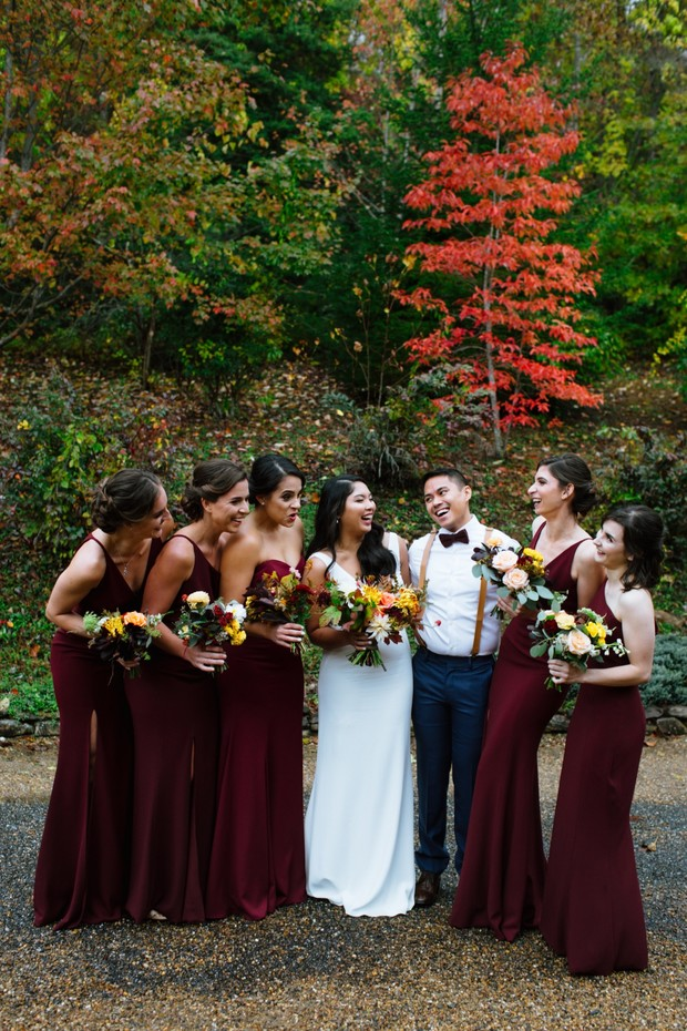 bridesmaids in burgundy fall wedding